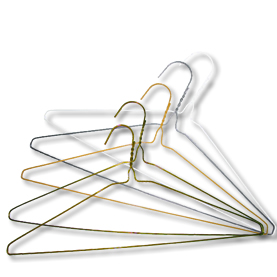 tangled metal wire hangers