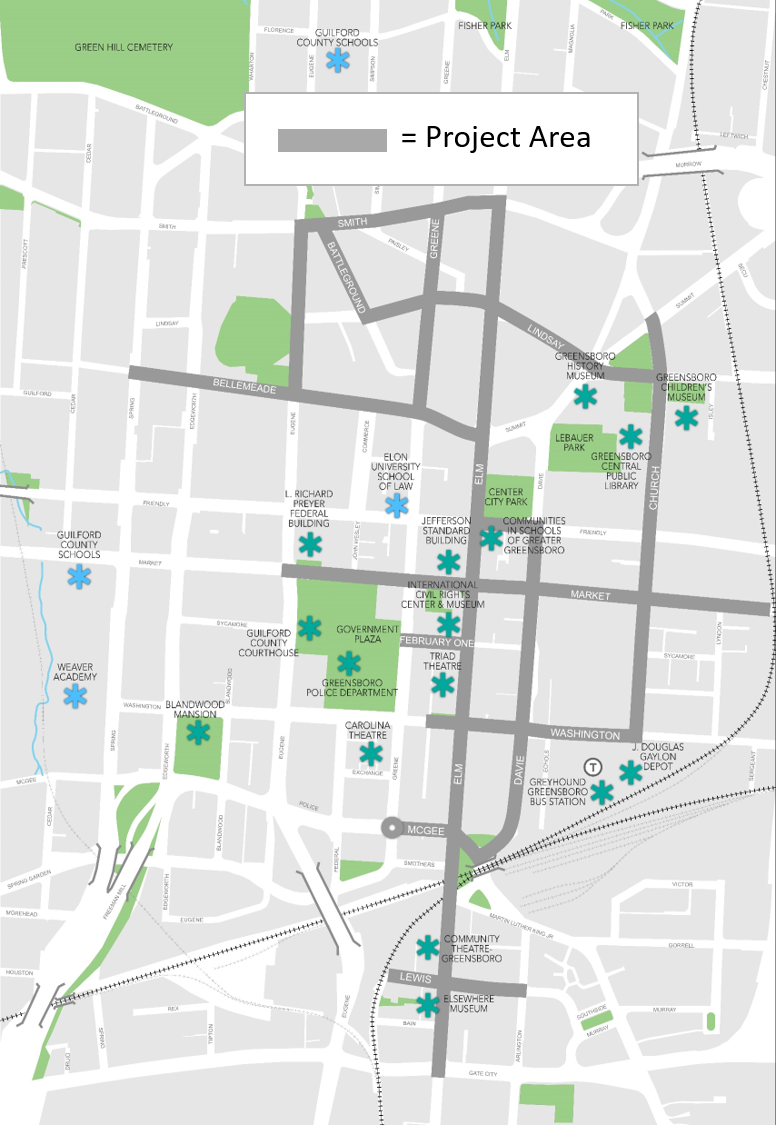 downtown streetscape project map