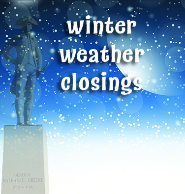 spotlight winter weather closings w statue