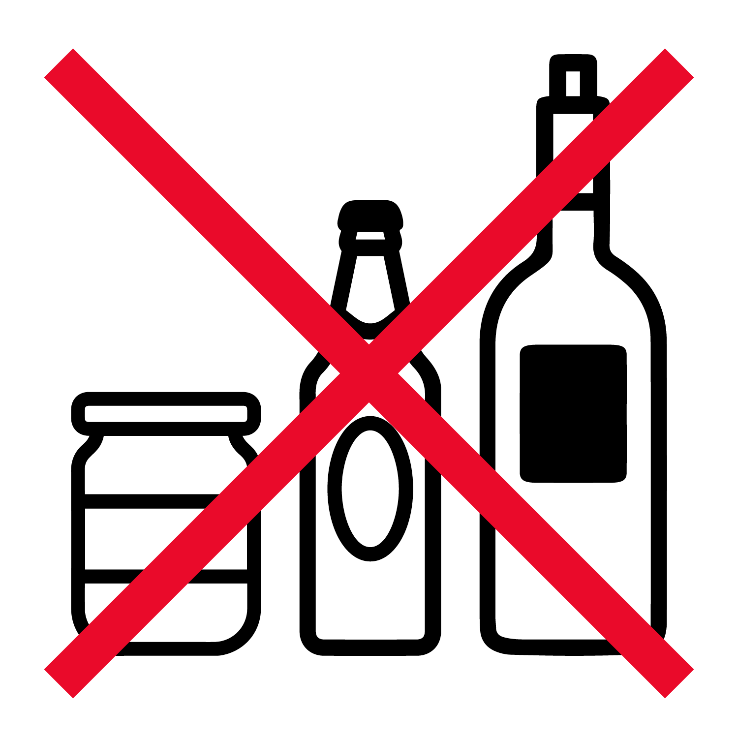 no glass bottles or jars