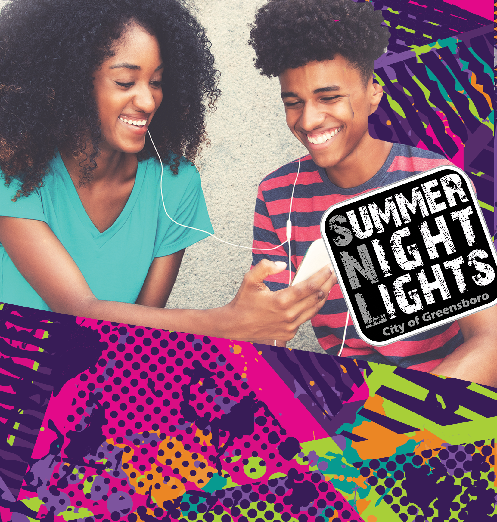 Two kids smiling and looking at a cell phone together. Text: Summer Night Lights City of Greensboro