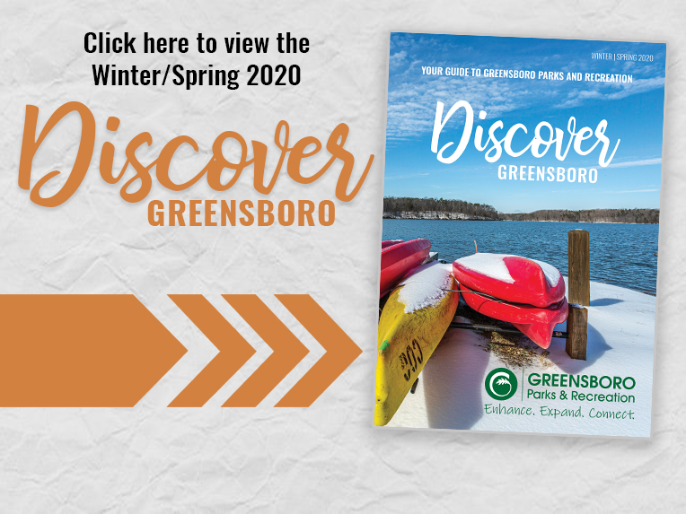 Text: Click here to view the Winter/Spring 2020 Discover Greensboro magazine. Image: Large arrow point to image of a magazine cover.
