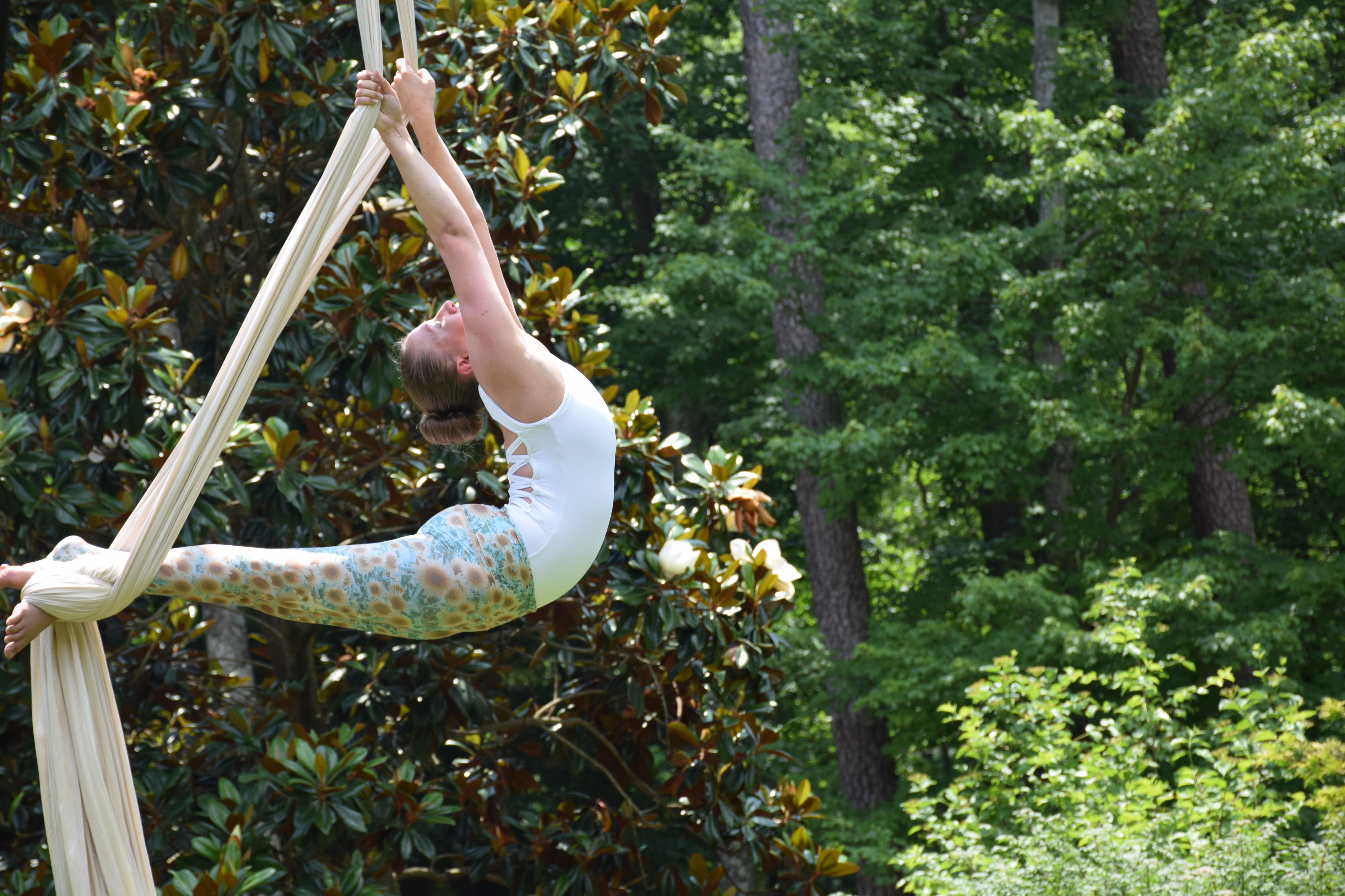 WOman performing an aerial routine