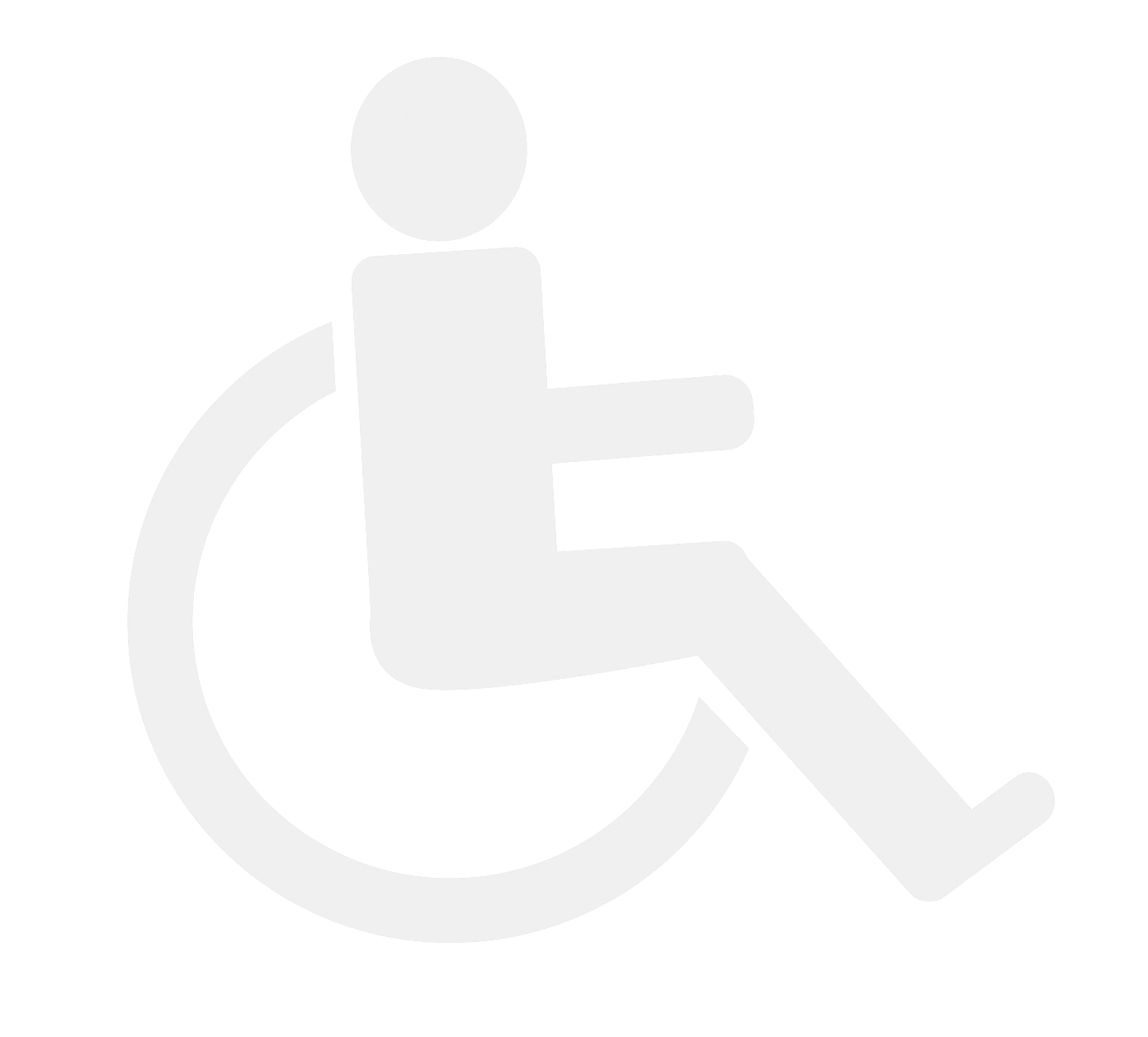 Two-dimensional icon of person in wheelchair