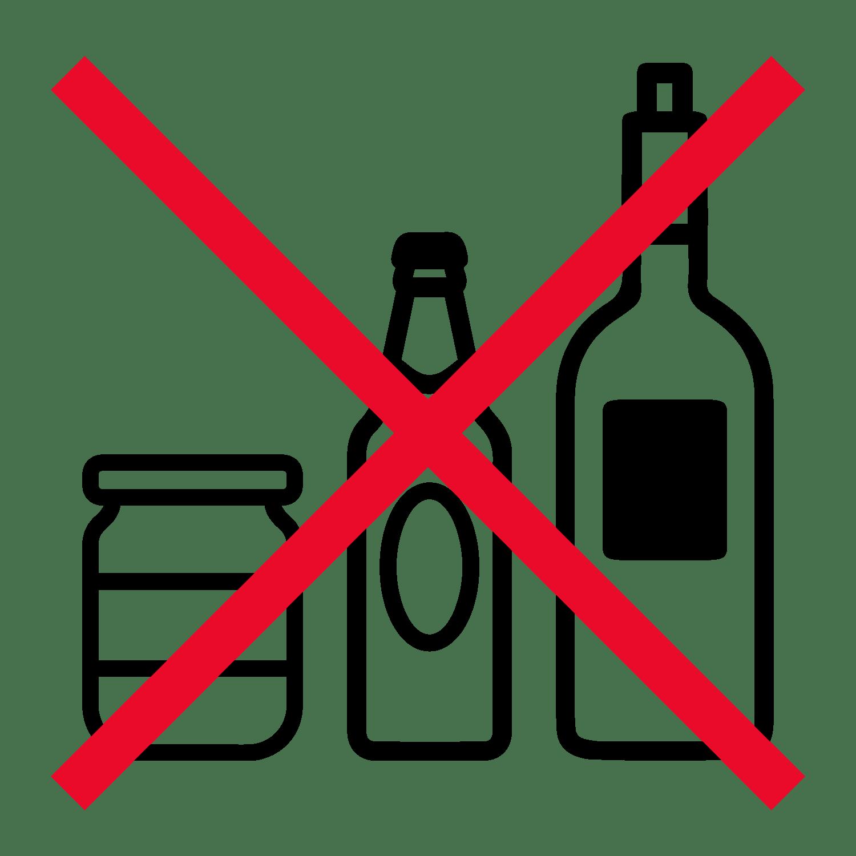 no glass bottles or jars